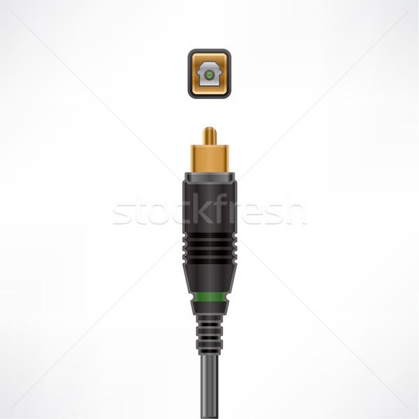 オプティカル ケーブル オーディオ プラグイン ソケット コンピュータ ストックフォト © Vectorminator