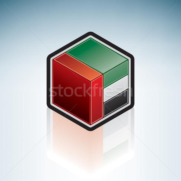 Emirados Árabes Unidos Ásia bandeira 3D isométrica estilo Foto stock © Vectorminator