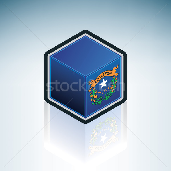 Stock fotó: Nevada · zászló · Egyesült · Államok · Amerika · 3D · izometrikus