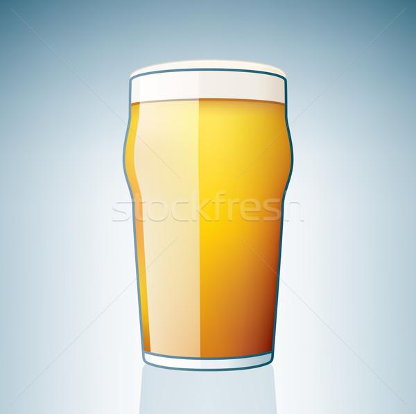 Világos sör üveg alkohol ikon szett ital fehér Stock fotó © Vectorminator