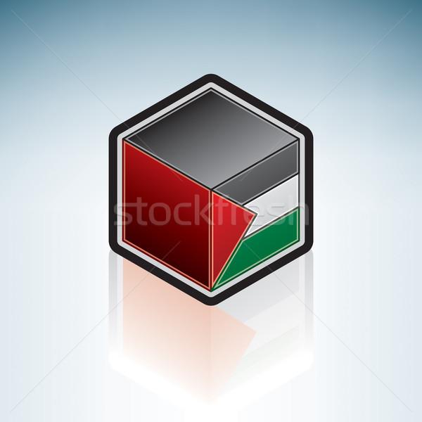 Midden oosten vlag 3D isometrische stijl icon Stockfoto © Vectorminator