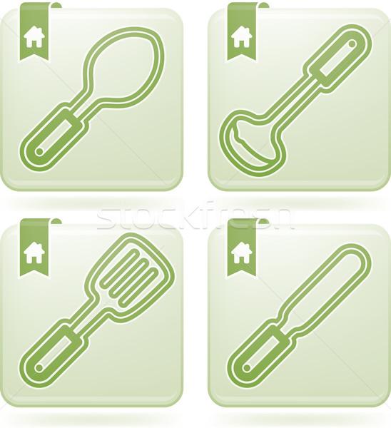 Ház tárgyak helyes kanál szedőlapát merőkanál Stock fotó © Vectorminator