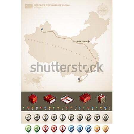 Republika Afryki mapy dodatkowo zestaw Zdjęcia stock © Vectorminator