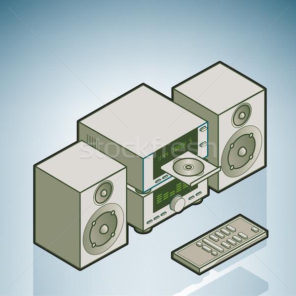 Mini hifi otthon kellékek izometrikus 3D Stock fotó © Vectorminator