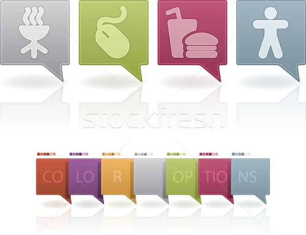 Сток-фото: веб-иконы · набор · пастельный · цветами · продовольствие