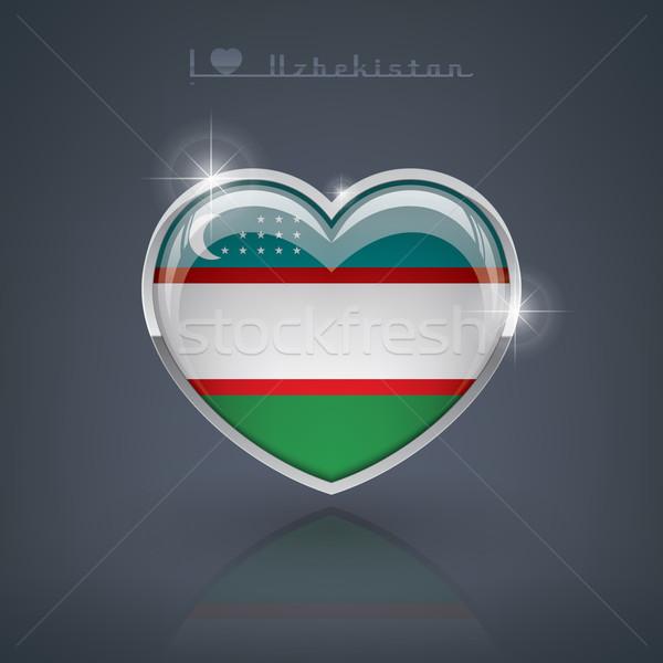 Özbekistan parlak kalp şekli bayraklar cumhuriyet kalp Stok fotoğraf © vectorminator