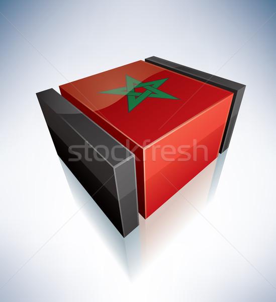 3D zászló Marokkó Afrika királyság zászlók Stock fotó © Vectorminator