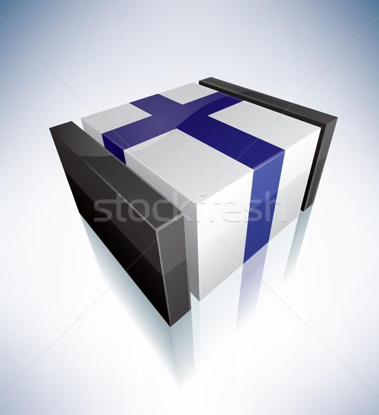 3D флаг Финляндия флагами Европа республика Сток-фото © Vectorminator
