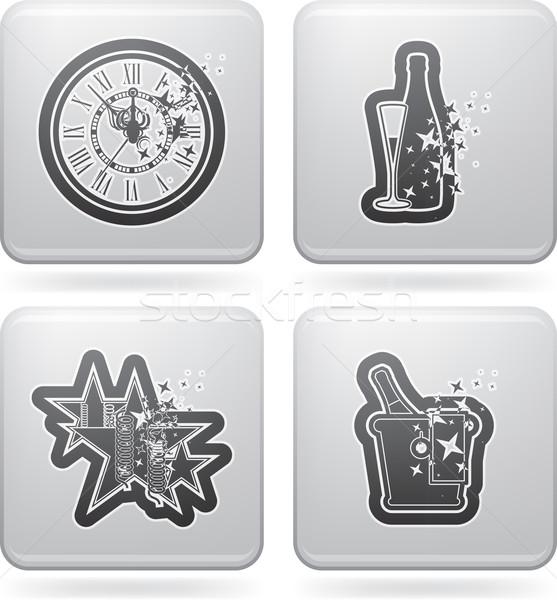 új év szimbólumok helyes felső fenék elegáns Stock fotó © Vectorminator