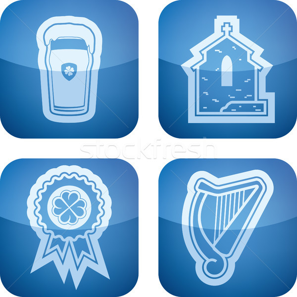 Dag vieren Ierse iconen top Stockfoto © Vectorminator