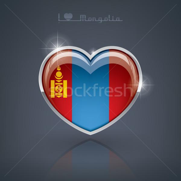 Монголия формы сердца флагами сердце Сток-фото © Vectorminator