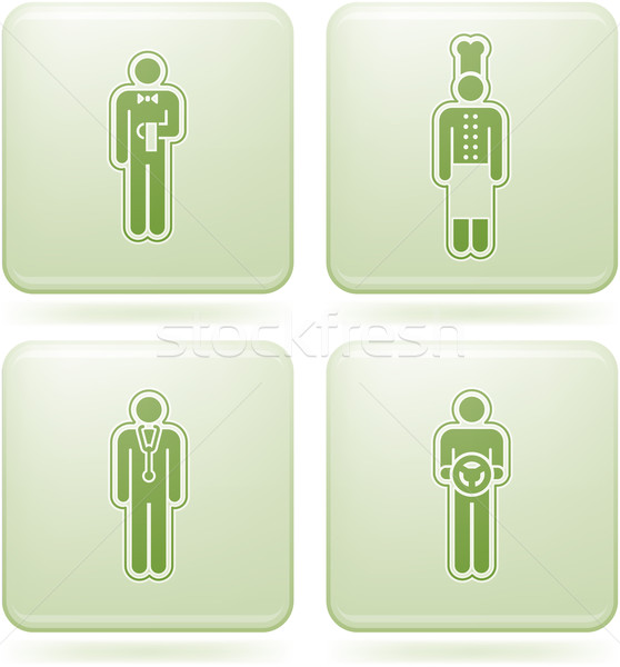 Olivine Square 2D Icons Set: Occupation Stock photo © Vectorminator