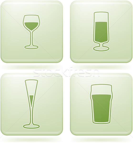 Olivine Square 2D Icons Set: Alcohol glass Stock photo © Vectorminator