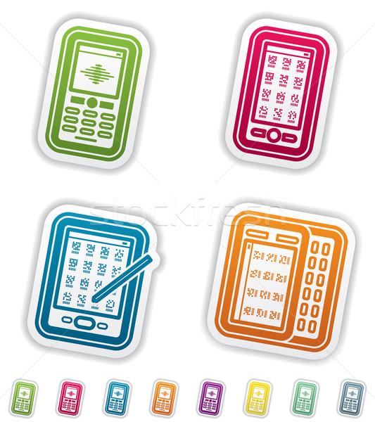 Stockfoto: Kantoor · leveren · objecten · mobiele · telefoon · smartphone · pen