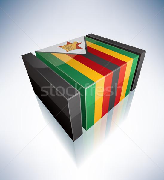 3D フラグ ジンバブエ アフリカ 共和国 フラグ ストックフォト © Vectorminator
