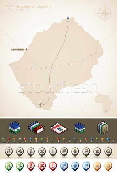 Lesotho uni Afrique cartes supplémentaire Photo stock © Vectorminator