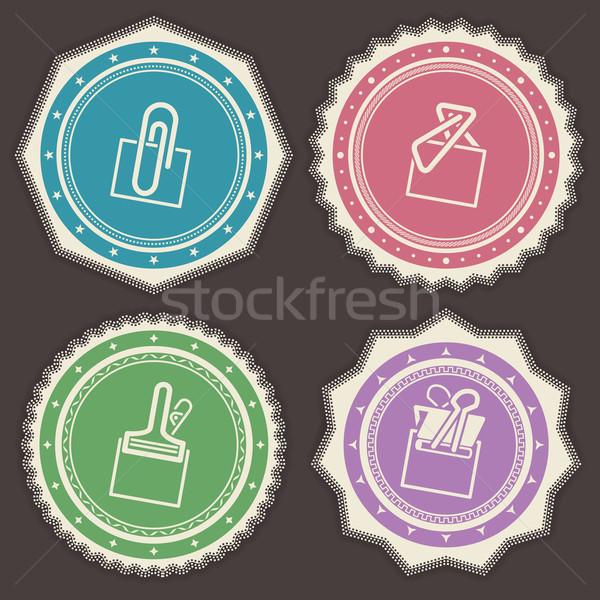 Ufficio fornire oggetti diverso graffetta badge Foto d'archivio © Vectorminator