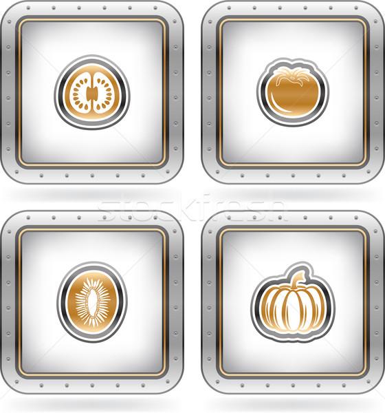 Vegetáriánus étel vám rajzolt karcolás buborék számjegyek Stock fotó © vectorminator
