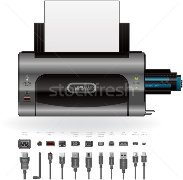 LaserJet Printer, Ports & Cables Stock photo © Vectorminator