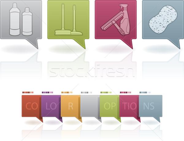 Takarítás kellékek kémia helyes fehérítő üvegek Stock fotó © Vectorminator