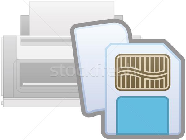 Karty czytelnik drukarki ikona komputera sprzętu Zdjęcia stock © Vectorminator
