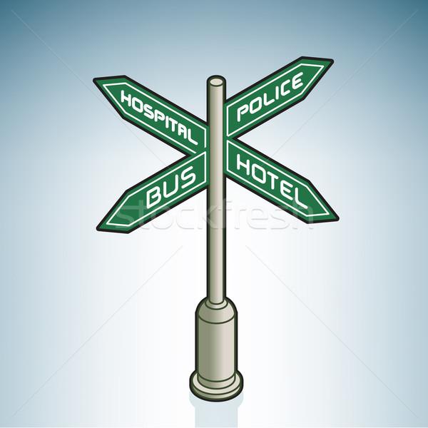 Jelzőtábla utca izometrikus 3D ikon szett Stock fotó © Vectorminator