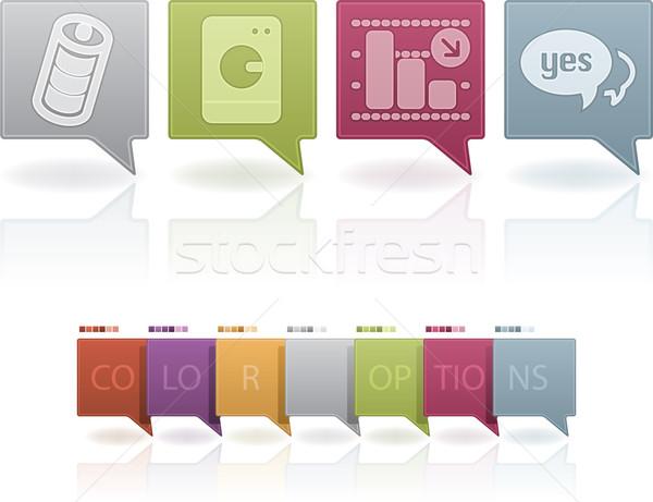 Сток-фото: веб-иконы · набор · пастельный · цветами · оранжевый