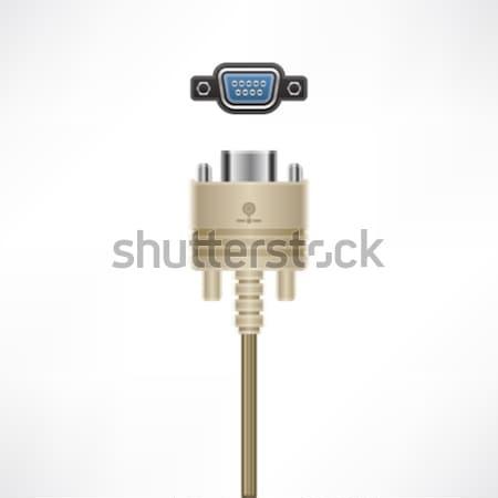 Kablo video fiş soket bilgisayar donanım Stok fotoğraf © Vectorminator