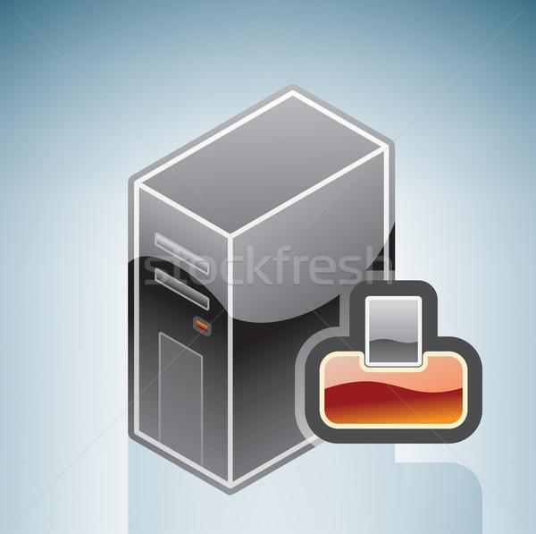 Сток-фото: компьютер · струйные · принтер · изометрический · 3D · аппаратных