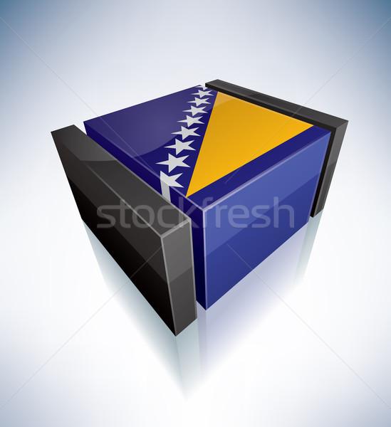 3D bandera Bosnia Herzegovina banderas Europa Foto stock © Vectorminator