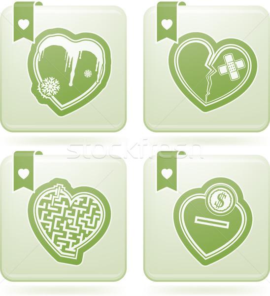 ストックフォト: 心 · バレンタイン · 時間 · アイコン · 異なる