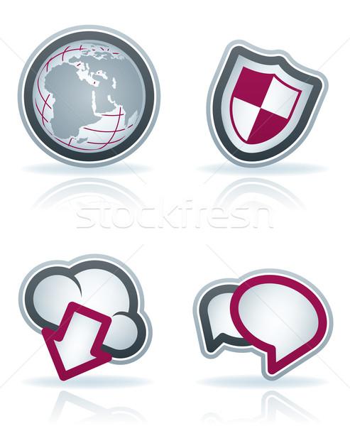 Интернет иконы значок набор здесь право мира Сток-фото © Vectorminator