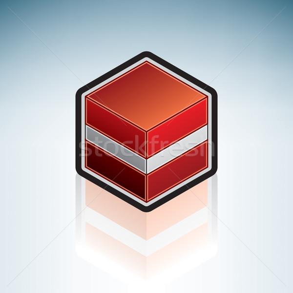 Letonya Avrupa bayrak cumhuriyet 3D izometrik Stok fotoğraf © Vectorminator