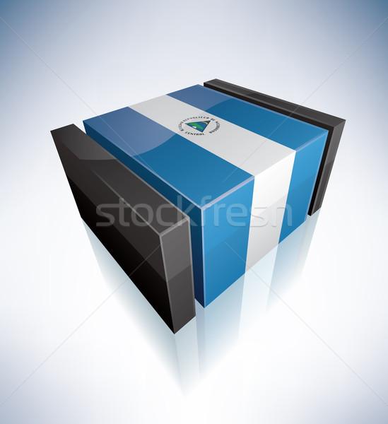 Сток-фото: 3D · флаг · Никарагуа · республика · флагами