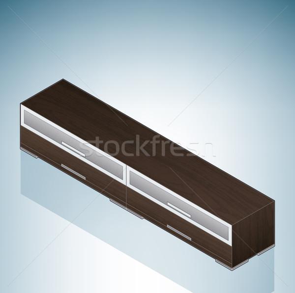 Meubles faible chambre poitrine tiroirs verre Photo stock © Vectorminator