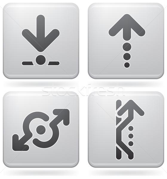 Nyilak ikonok jelzőtábla platina tér ikon szett Stock fotó © Vectorminator