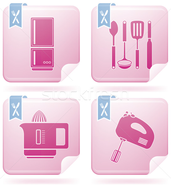 Сток-фото: кухне · фламинго · квадратный · вектора · набор