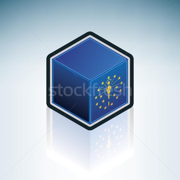 Indiana bayrak Amerika Birleşik Devletleri Amerika 3D izometrik Stok fotoğraf © Vectorminator