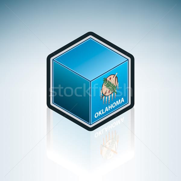 Oklahoma zászló Egyesült Államok Amerika 3D izometrikus Stock fotó © Vectorminator