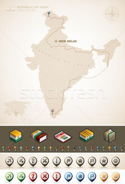 Republika Indie asia mapy dodatkowo Zdjęcia stock © Vectorminator
