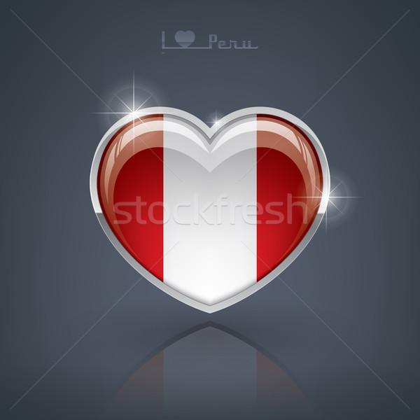 Perú forma de corazón banderas república corazón Foto stock © Vectorminator