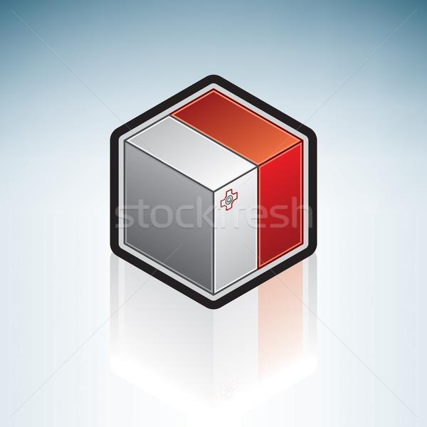 Malta Europa vlag republiek 3D isometrische Stockfoto © Vectorminator