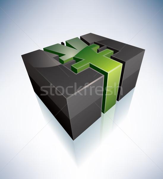 Jen symbol 3D zielone japoński alfabet Zdjęcia stock © Vectorminator