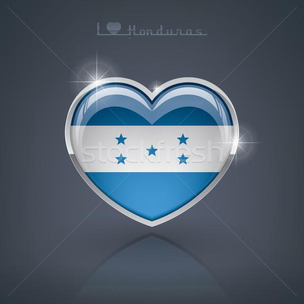 Honduras fényes szív alak zászlók köztársaság szív Stock fotó © Vectorminator
