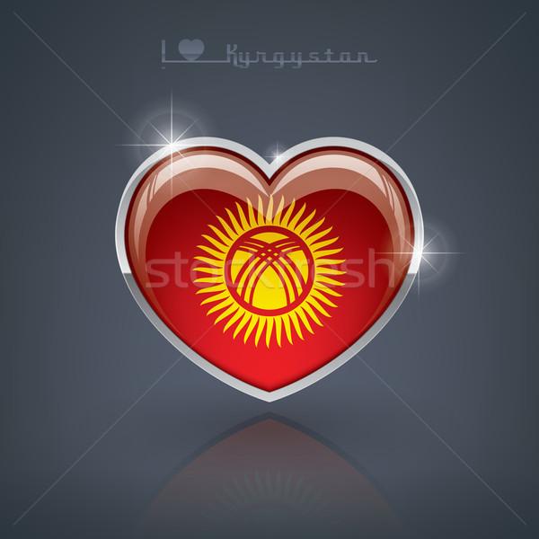 Киргизия формы сердца флагами республика сердце Сток-фото © Vectorminator