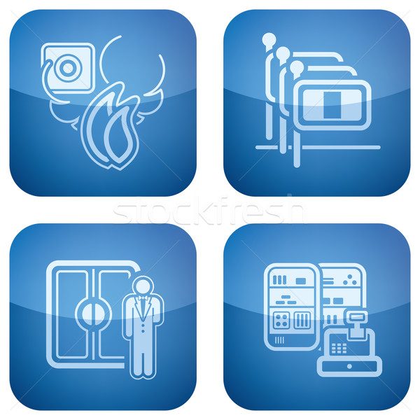 Cobalt 2D Squared Icons Set: Hotel Stock photo © Vectorminator