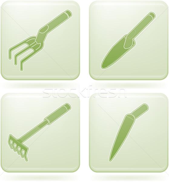 Olivine Square 2D Icons Set: Garden Tools Stock photo © Vectorminator