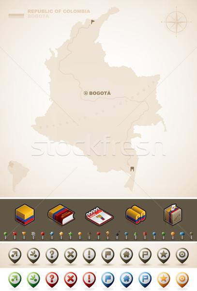 Cumhuriyet Kolombiya kuzey Amerika haritaları Stok fotoğraf © Vectorminator