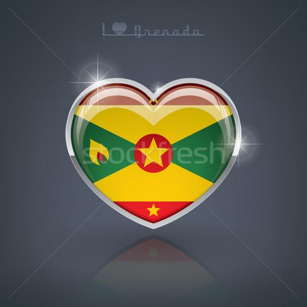 Гренада формы сердца флагами сердце Сток-фото © Vectorminator