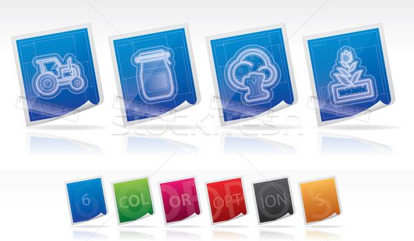 Farm ikonok összes tárgyak szett viszony Stock fotó © Vectorminator